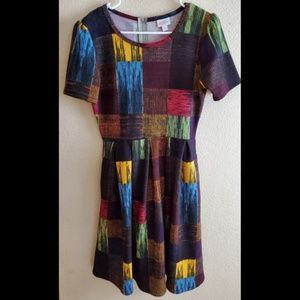 LuLaRoe Amelia Retro Colorblock Plaid Dress Medium